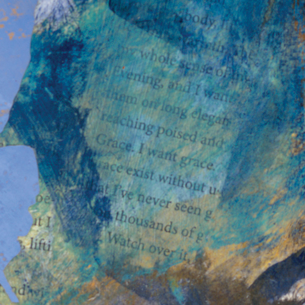 Detail of background blue and ghosted text in Their Voices Reach Me and I Ascend, mixed media contemporary landscape painting, 7th of the Crane Series paintings by Dawn Chandler