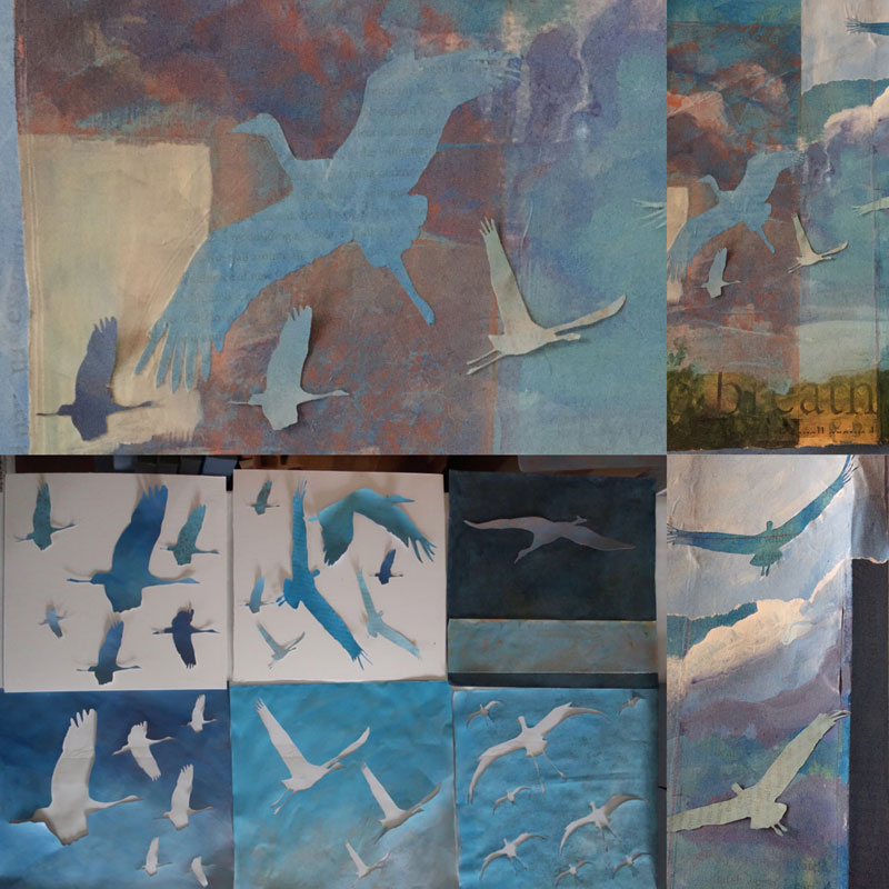 details of one of artist Dawn Chandler's mixed media crane paintings in progress