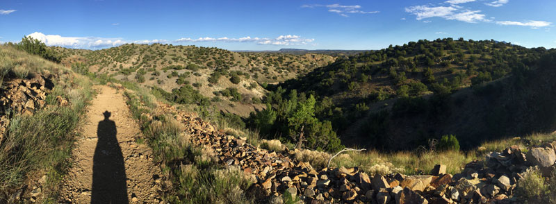 A panoramic view photographed in the Cerrillos Hills.