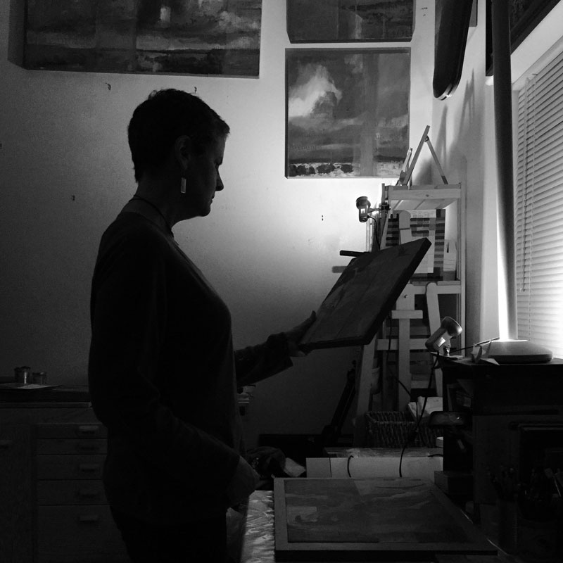 Silhouette of artist Dawn Chandler 'in the night studio.'