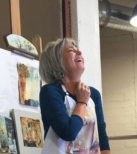 Very joyful artist Joan Fullerton during a workshop demo.