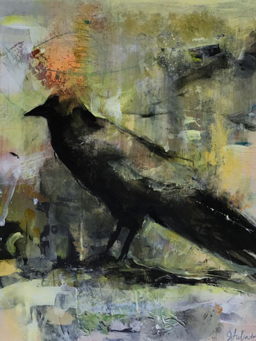 Messenger contemporary acrylic painting of a crow by artist Joan Fullerton