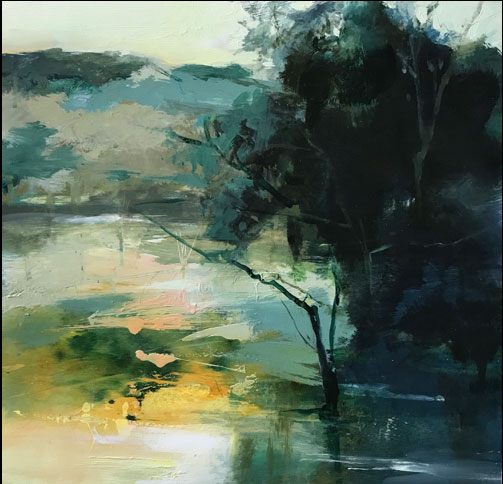 Deep Serenity abstract landscape painting by artist Joan Fullerton