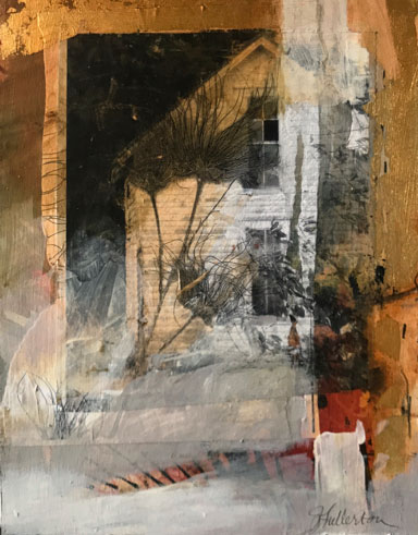 Not Forgotten mixed media painting with house imagery by artist Joan Fullerton
