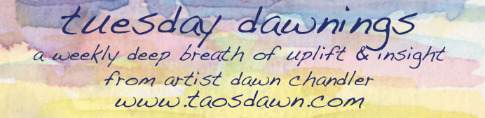 Colorful watercolor banner for Tuesday Dawnings.