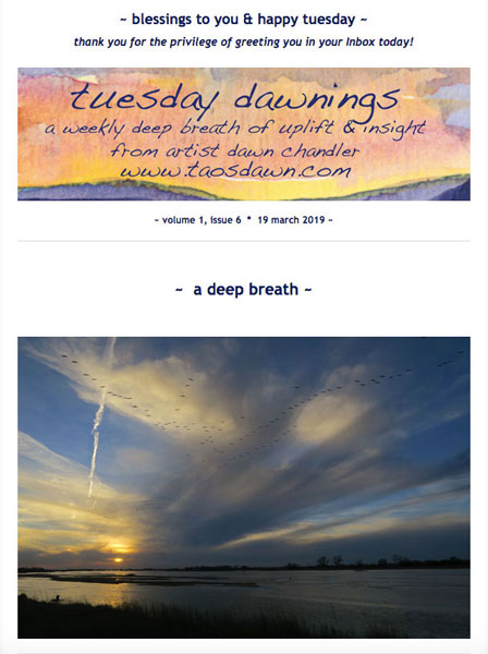 The welcoming image of a recent installment of Dawn Chandler's Tuesday Dawnings weekly series