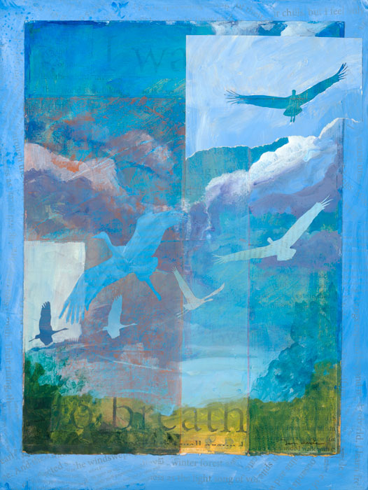 'Breath' - a mixed media painting glowing shades of blue and familis of cranes rising through clouds by artist Dawn Chandler.