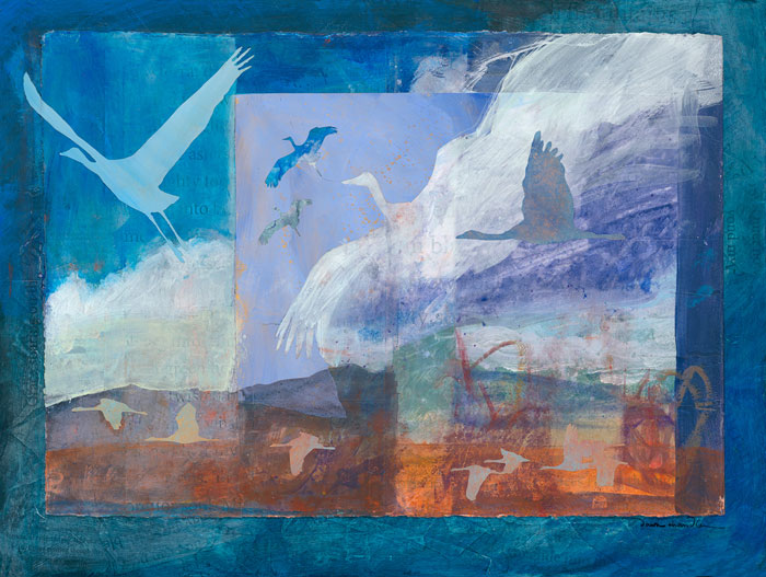 'Into the Beyond' - a mixed media painting in cool shades of blues, greys and earth colors, by artist Dawn Chandler celebrating the Sandhill cranes.