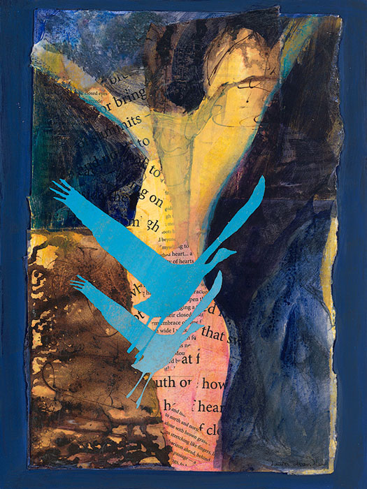 'Ready to Rise' - a mixed media painting featuring a radiant figure with arms open wide and a pair of blue sandhill cranes by artist Dawn Chandler.