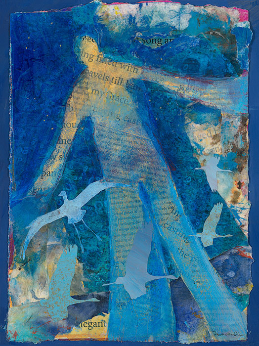 "'Spread Your Awkwardly Elegant WIngs"" - a mixed media painting featuring a figure with arms wide and a family of blue sandhill cranes by artist Dawn Chandler."