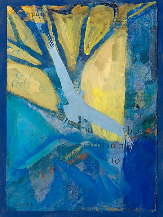 'Thawing, RIsing, Rejoicing' - a mixed media painting featuring a tree, bright light and soaring cranes by artist Dawn Chandler.