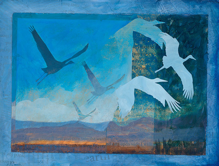 'Wings of Earth, Wings of Sky'  a mixed media painting featuring  sandhill cranes silhouetted against the sky by artist Dawn Chandler.