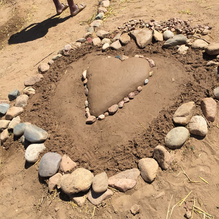 The earthen heart at the Frenchy's Park labyrinth in Santa Fe. Photo by Dawn Chandler.
