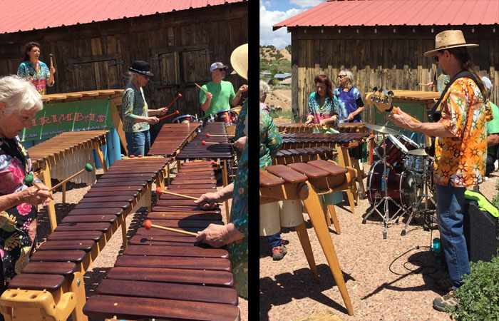 Live marimba music to enliven the remudding work on the Frenchy's Park labyrinth in Santa Fe. Photo by Dawn Chandler.