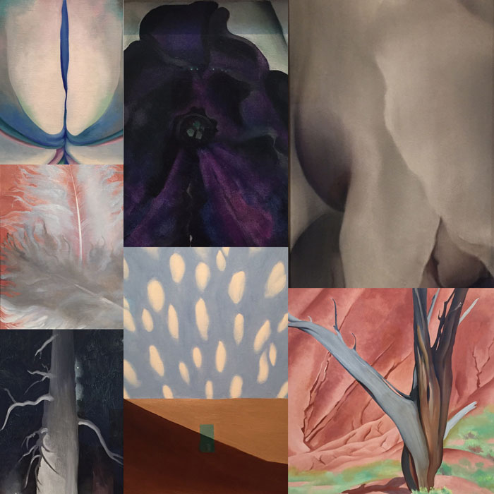 Dawn Chandler's digital grid of several Georgia OKeeffe paintings from the Georgia OKeeffe Museum in Santa Fe.
