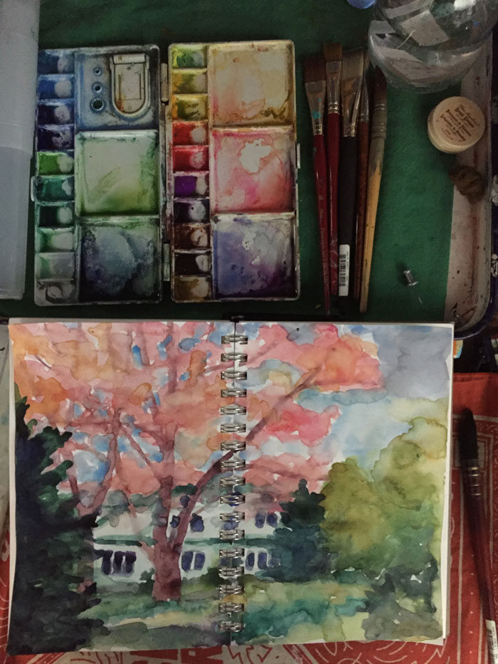 Watercolor sketch of artist Dawn Chandler's childhood home.