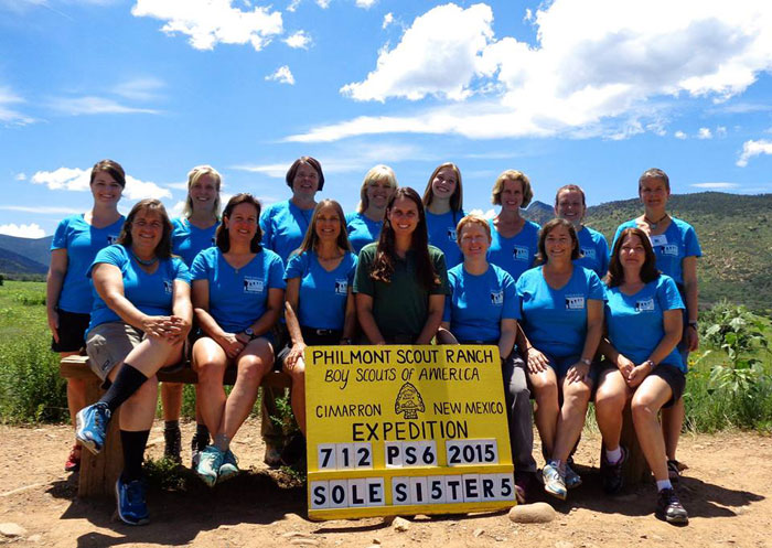 PSA Sole Sister Crew 712 PS6 2015 getting ready for a week-long backpacking trek at Philmont.