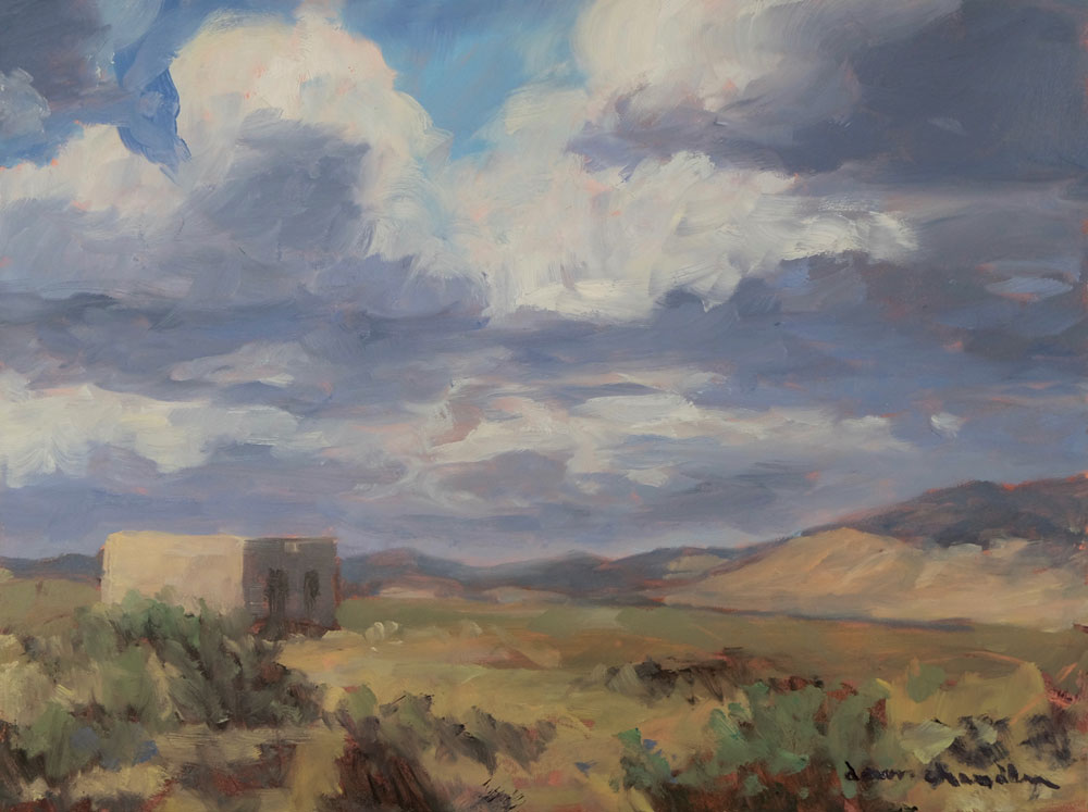 High Desert Homestead, Moreno Valley, New Mexico landscape painting by artist Dawn Chandler