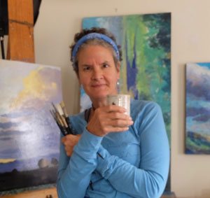 New Mexico artist Dawn Chandler aka 'Taos Dawn' in her Santa Fe studio.