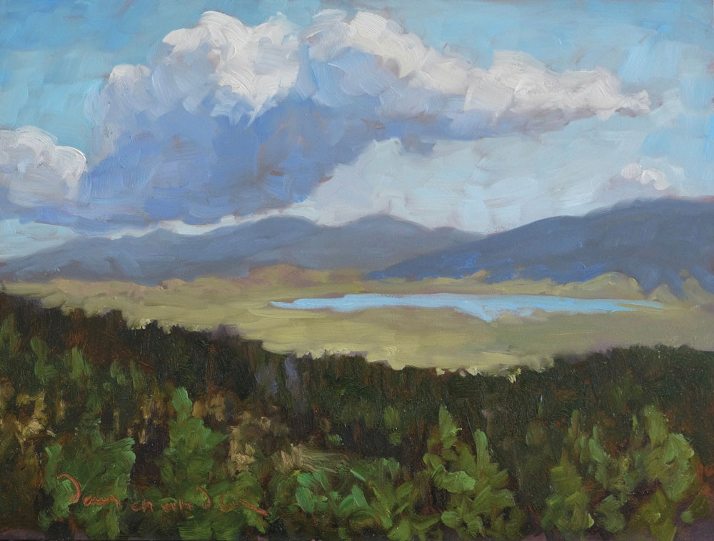 A Promise of Afternoon Rain, Moreno Valley, New Mexico landscape painting by artist Dawn Chandler