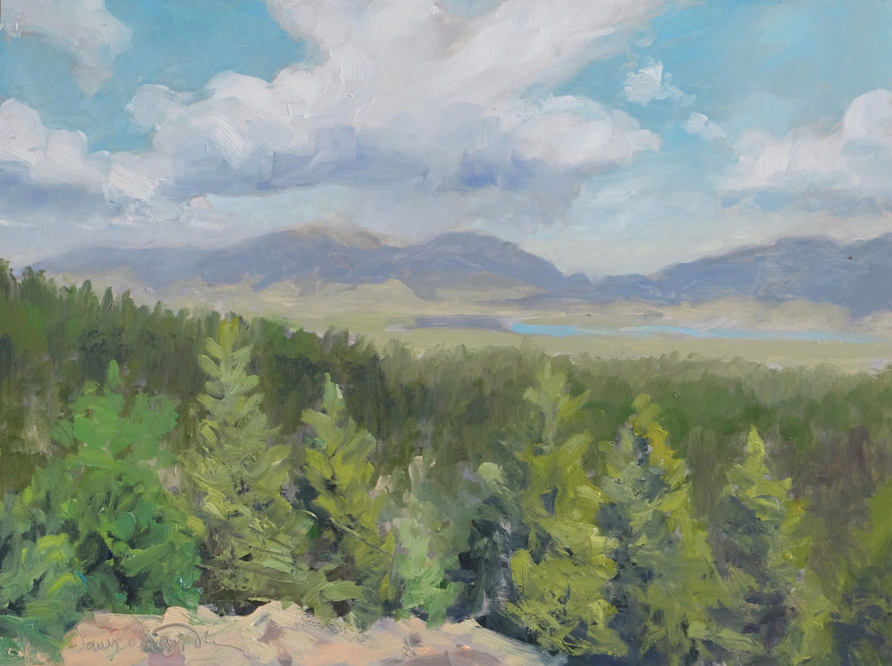 Midday on the Overlook, Moreno Valley, New Mexico landscape painting by artist Dawn Chandler