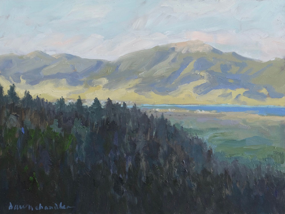 Another Beautiful Day Draws to a Close, Moreno Valley, New Mexico landscape painting by artist Dawn Chandler