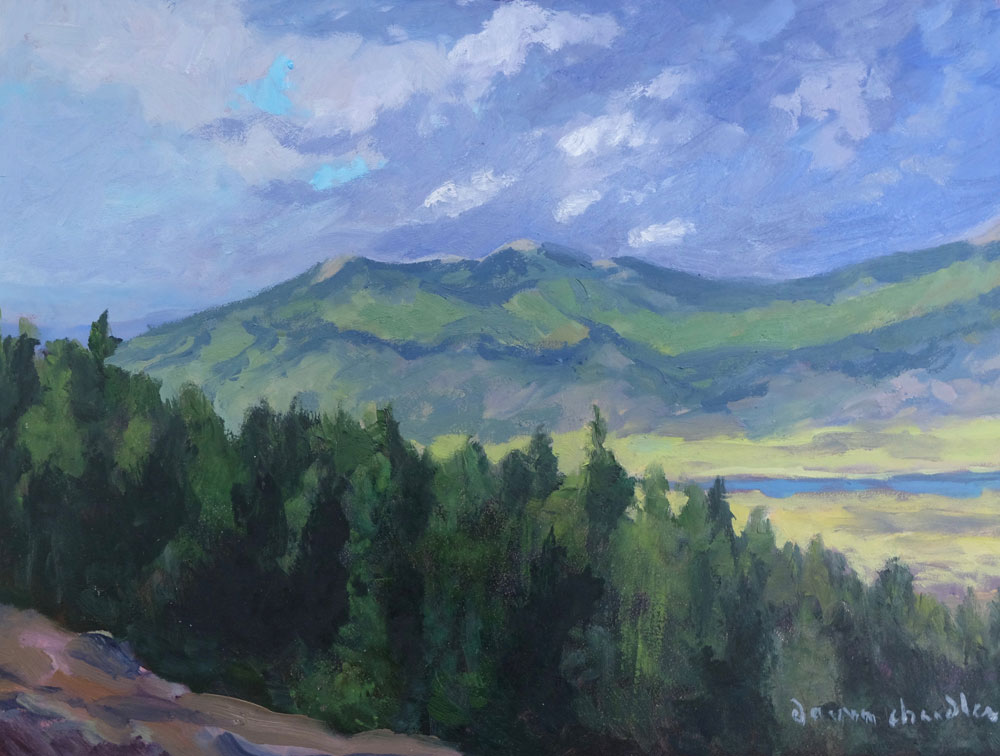 Evening Storm Breaks Over Baldy and Touch-Me-Not, Moreno Valley, New Mexico landscape painting by artist Dawn Chandler