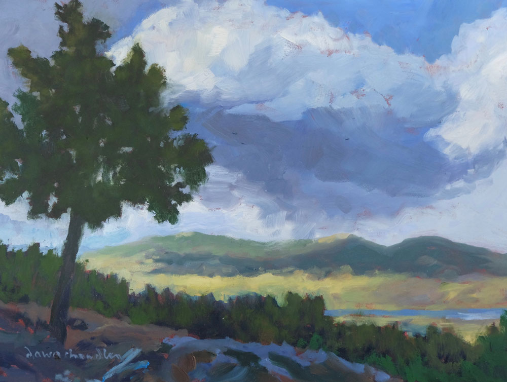 Can You Just Smell the Rain, Moreno Valley, New Mexico landscape painting by artist Dawn Chandler