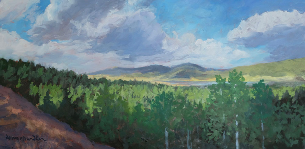 Peaceful Summer Evening, Moreno Valley, New Mexico landscape painting by artist Dawn Chandler