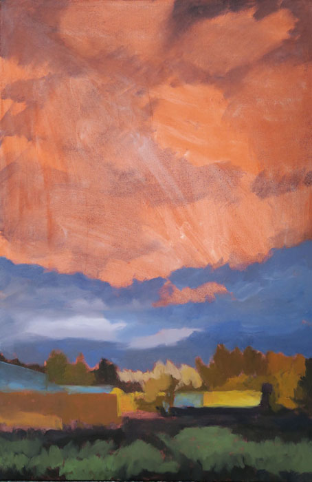 Dawn Chandler starting to add the initial cloud colors in her New Mexico landscape oil painting 'Santa Fe September.'