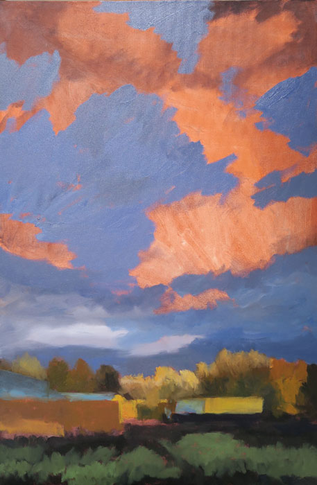 Dawn Chandler building up the clouds in her New Mexico landscape oil painting 'Santa Fe September.'