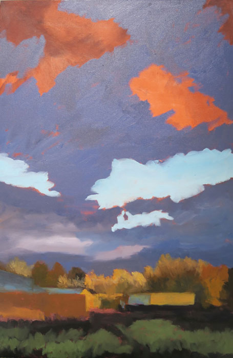 Dawn Chandler punching in the sky in her New Mexico landscape oil painting 'Santa Fe September.'