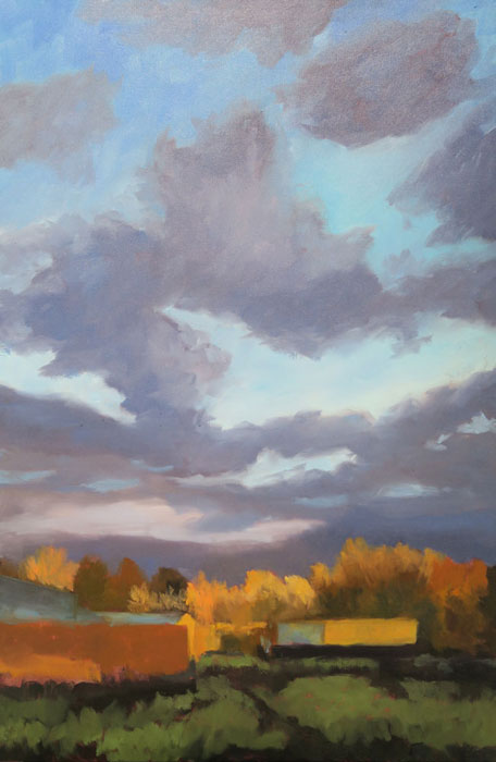 Dawn Chandler adding more touches to her New Mexico landscape oil painting 'Santa Fe September.'