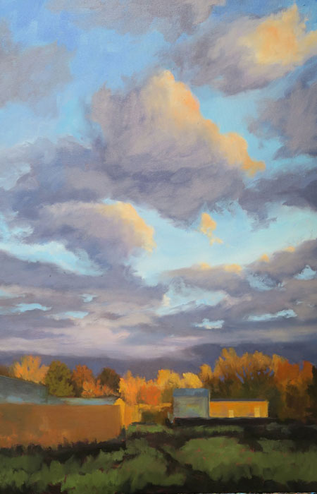 Dawn Chandler's New Mexico landscape oil painting 'Santa Fe September' nearly finished.