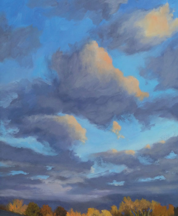 The sky in New Mexico landscape painting, 'Santa Fe September' oil on canvas by artist Dawn Chandler.