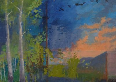 Evening Falls and We Arise - contemporary abstract landscape painting by New Mexico artist Dawn Chandler