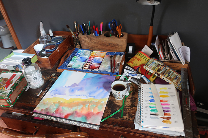 Dawn Chandler's watercolor table.