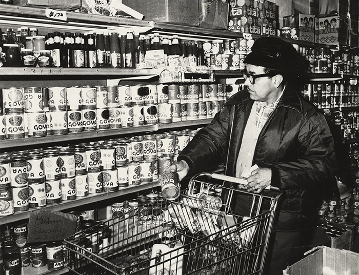 Vintage photo of grocery store cans of Goya products. Goya Foods, Inc. Collection National Museum of American History, Archives Center