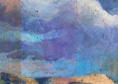 Cloudwalker, III, mixed media on canvas, contemporary abstract landscape by New Mexico painter Dawn Chandler