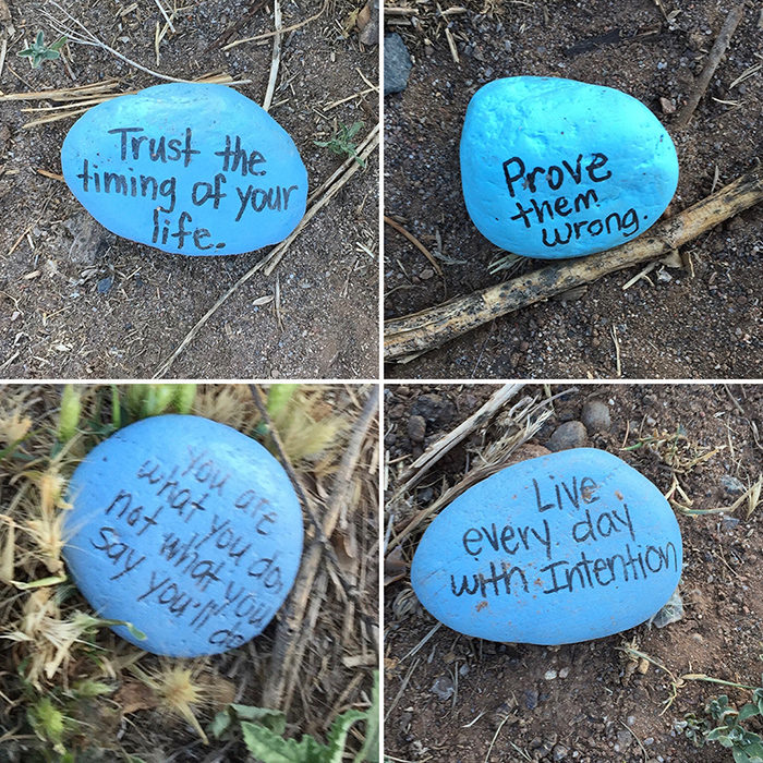 Blue stone quotation art east side of the Sandias. Photo by Dawn Chandler.