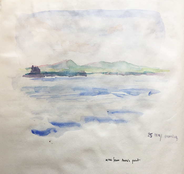 Watercolor sketch of view across Frenchman's Bay, Mt Desert Island, by artist Dawn Chandler.