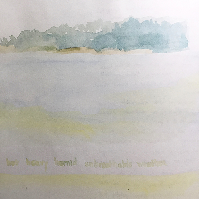 Watercolor sketch of a hazy humid horizon along the coast of Maine, by Dawn Chandler c. 1991.
