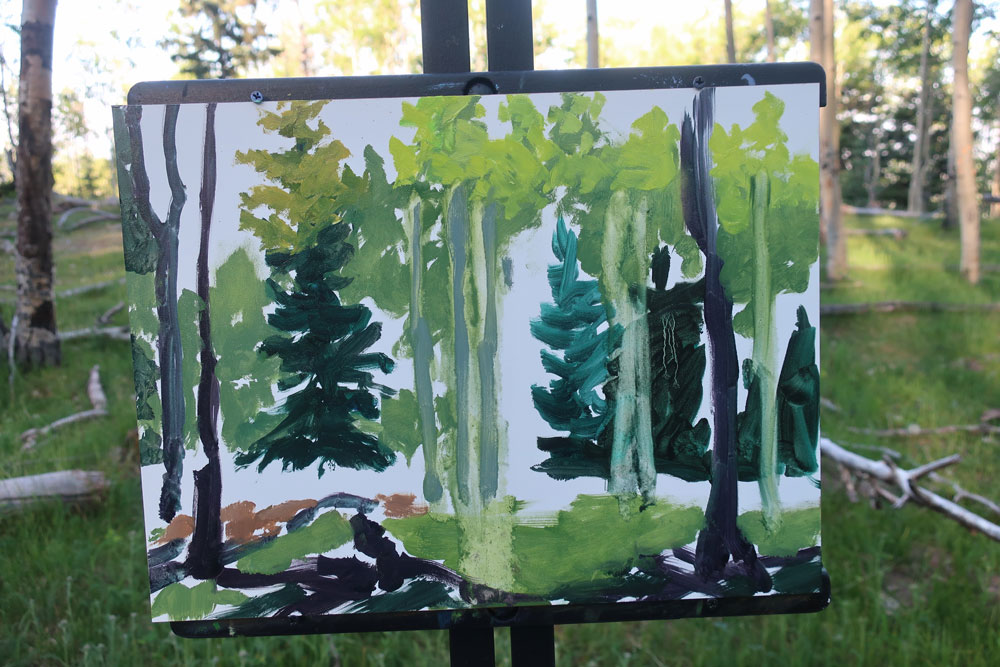 Aspen forest plein air painting by Dawn Chandler - adding lighter and more varied greens.