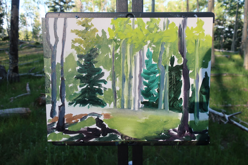Aspen forest plein air painting by Dawn Chandler - adding still more lighter greens to the trees.