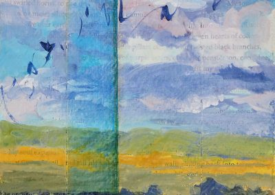 New Mexico Sky Musineg, I, mixed media on canvas, contemporary abstract landscape by New Mexico painter Dawn Chandler