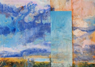 New Mexico Sky Musineg, II, mixed media on canvas, contemporary abstract landscape by New Mexico painter Dawn Chandler