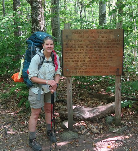 Artist Dawn Chandler starting her solo backpacking trek across the length of Vermont on the Long Trail.