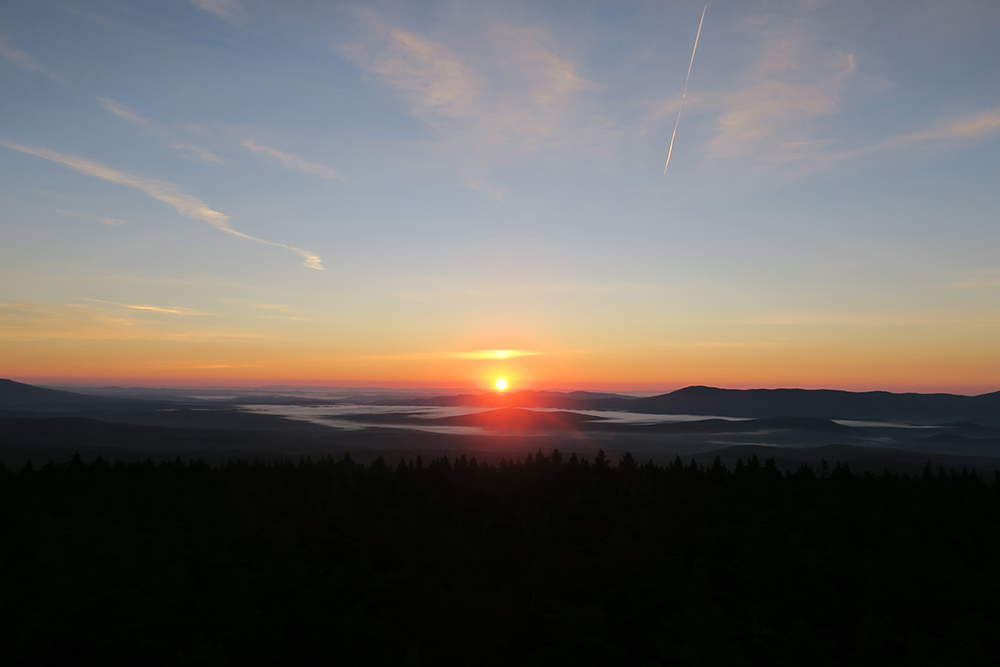 Sunrise from the Glastenbury fire tower on Vermont's Long Trail. Photo by artist and thru-hiker Dawn TaosDawn Chandler.