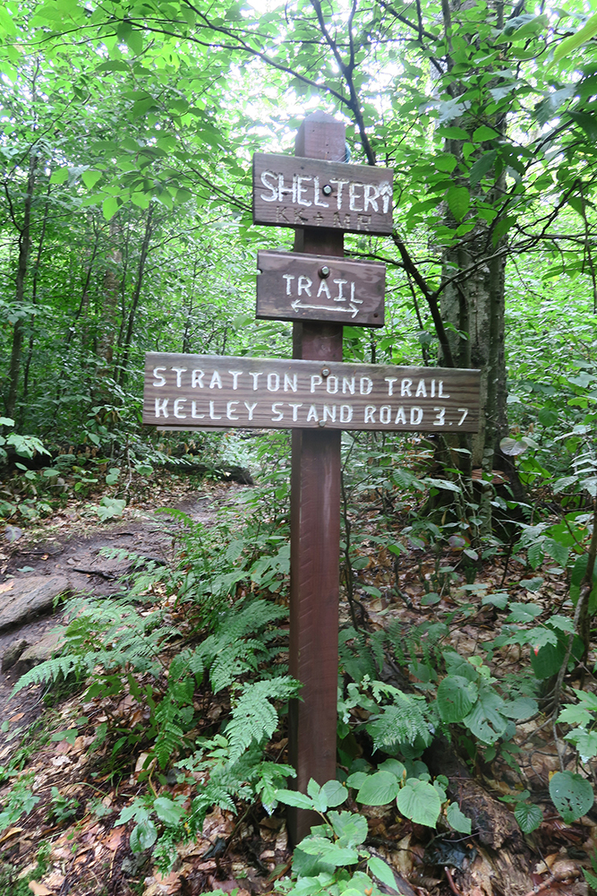 Stratton Pond Trail sign, Vermont. Photo by artist and LT thru-hiker Dawn Chandler.