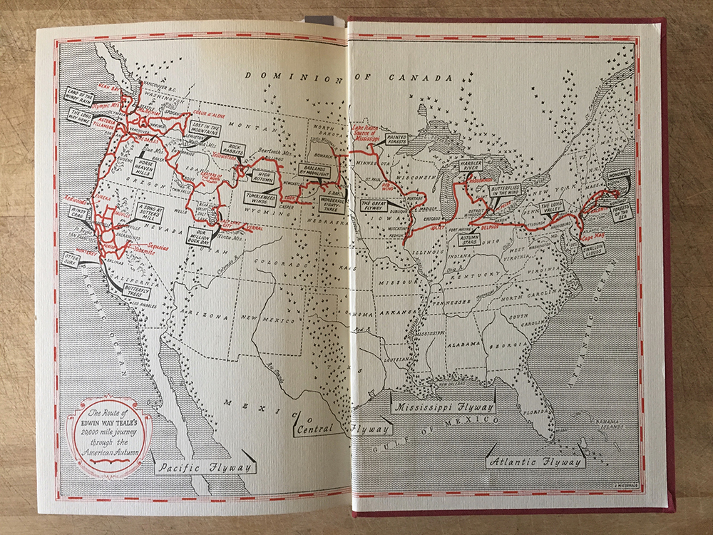Map of Edwin Way Teale's epic road trip on the inside cover of Autumn Across America.